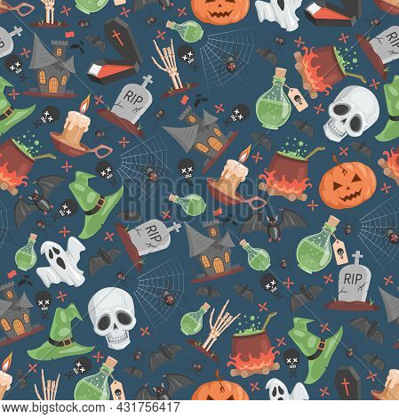 Halloween Seamless Pattern. Ugly And Scary Skulls, Witch Hats, Poisons, Spiders On Web, Skeletons, B