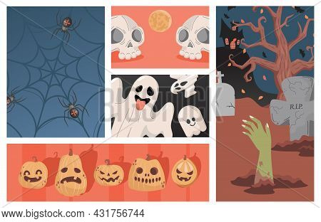 Set Of Halloween Party Illustrations. Ugly Scary Pumpkin Heads, Ghosts, Human Skulls Vector Flat Car