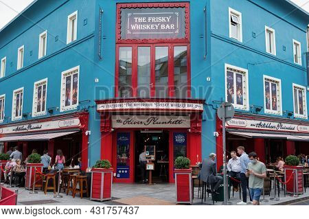 Cork, Ireland- July 14, 2021: The Front Of The Oliver Plunkett Restaurant  In Cork City