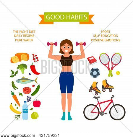 A Slender Girl Goes In For Sports Against The Background Of Good Habits. Proper Nutrition, Daily Rou
