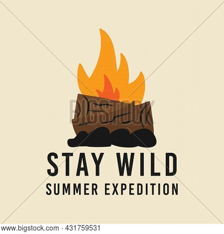 T Shirt Design With Campfire For Summer Expedition