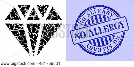 Fragment Mosaic Adamant Crystal Icon, And Blue Round No Allergy Unclean Stamp Seal With Word Inside