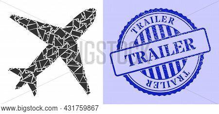 Shard Mosaic Airplane Icon, And Blue Round Trailer Grunge Watermark With Caption Inside Round Shape.