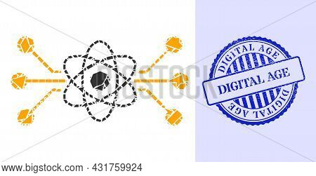 Fraction Mosaic Atomic Circuit Icon, And Blue Round Digital Age Rubber Seal With Word Inside Round S