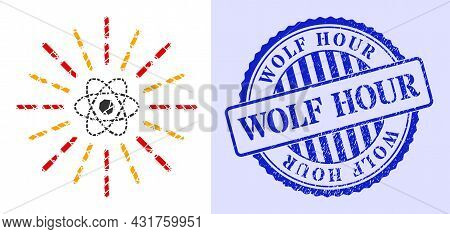 Debris Mosaic Atomic Radiation Icon, And Blue Round Wolf Hour Rough Stamp Seal With Tag Inside Round
