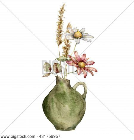 Watercolor Autumn Bouquet In Vase Of Flowers And Dry Spikelet. Hand Painted Meadow Aster And Leaves