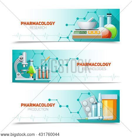 Pharmacology Scientific Research Technologies And Production 3  Horizontal Banners Set With Molecule