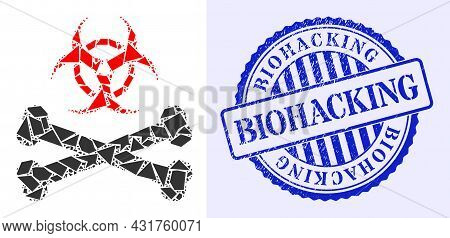 Shatter Mosaic Biohazard Bones Icon, And Blue Round Biohacking Grunge Stamp Print With Tag Inside Ci
