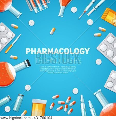 Pharmacology Technologies Background With Drugs Pills And Capsules Vector Illustration