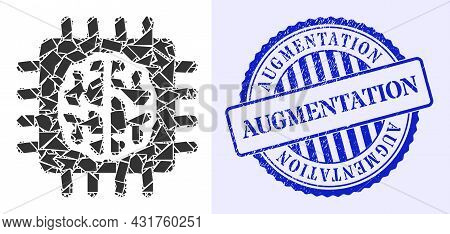 Debris Mosaic Brain Chip Icon, And Blue Round Augmentation Corroded Seal With Word Inside Round Shap