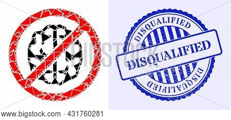 Debris Mosaic Brainless Icon, And Blue Round Disqualified Rubber Stamp With Tag Inside Circle Shape.