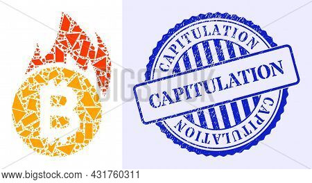 Debris Mosaic Burn Bitcoin Icon, And Blue Round Capitulation Grunge Stamp Print With Text Inside Rou