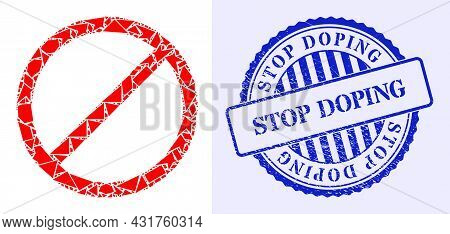 Debris Mosaic Cancel Icon, And Blue Round Stop Doping Unclean Watermark With Text Inside Round Shape