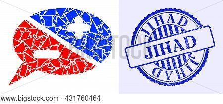 Debris Mosaic Chat Arguments Icon, And Blue Round Jihad Dirty Rubber Print With Text Inside Circle S