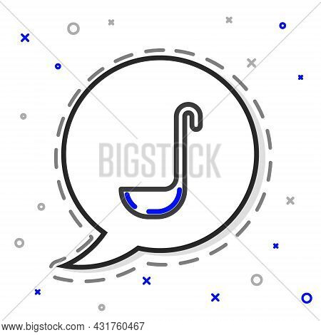 Line Kitchen Ladle Icon Isolated On White Background. Cooking Utensil. Cutlery Spoon Sign. Colorful
