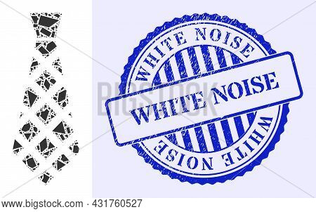 Detritus Mosaic Checkered Tie Icon, And Blue Round White Noise Textured Stamp Seal With Caption Insi