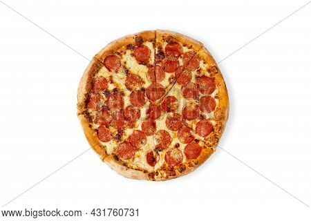 Tasty Paperoni Pizza Isolated On White. Top View On Paperoni Pizza. Concept For Italian Food, Street