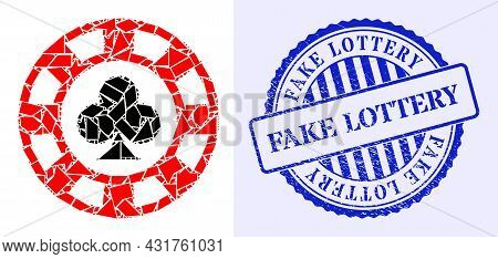 Shard Mosaic Clubs Casino Chip Icon, And Blue Round Fake Lottery Scratched Stamp With Word Inside Ro