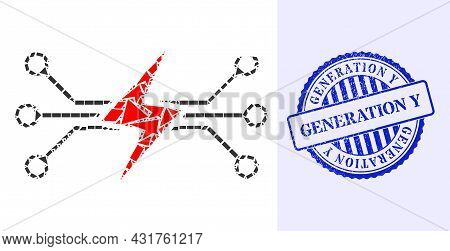 Debris Mosaic Energy Circuit Icon, And Blue Round Generation Y Rough Stamp With Tag Inside Round Sha