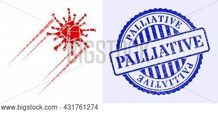 Fraction Mosaic Rush Covid Virus Icon, And Blue Round Palliative Grunge Stamp With Text Inside Round