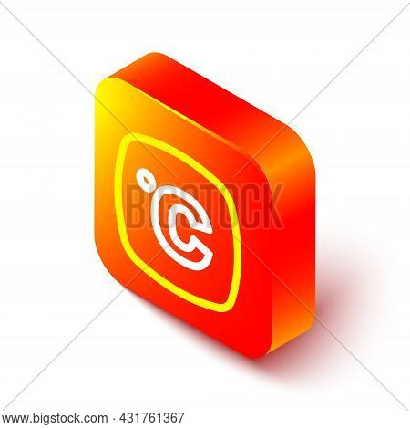 Isometric Line Celsius Icon Isolated On White Background. Orange Square Button. Vector