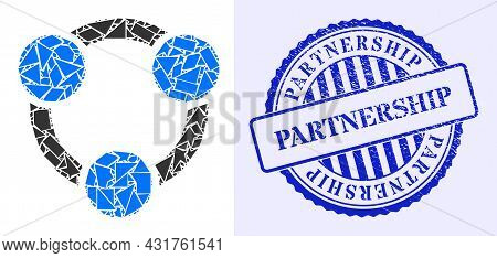 Shards Mosaic Collaboration Icon, And Blue Round Partnership Grunge Stamp Imitation With Word Inside