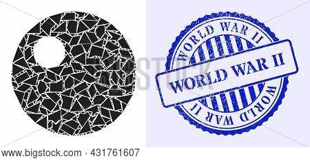 Debris Mosaic Sphere Icon, And Blue Round World War Ii Grunge Stamp Print With Caption Inside Round