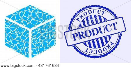 Debris Mosaic Sugar Cube Icon, And Blue Round Product Grunge Stamp Seal With Caption Inside Round Fo