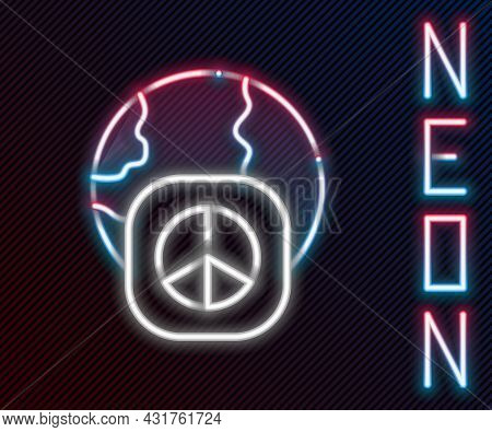 Glowing Neon Line International Day Of Peace Icon Isolated On Black Background. World Peace. Colorfu
