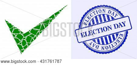 Debris Mosaic Yes Sign Icon, And Blue Round Election Day Rubber Stamp Seal With Text Inside Round Sh