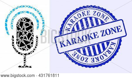Shards Mosaic Microphone Icon, And Blue Round Karaoke Zone Unclean Stamp Imitation With Tag Inside R
