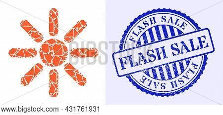 Shatter Mosaic Sun Rays Icon, And Blue Round Flash Sale Textured Stamp Imitation With Caption Inside