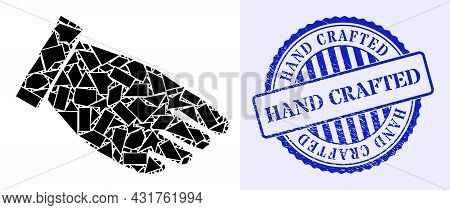Shards Mosaic Hand Palm Icon, And Blue Round Hand Crafted Grunge Stamp Imitation With Text Inside Ro
