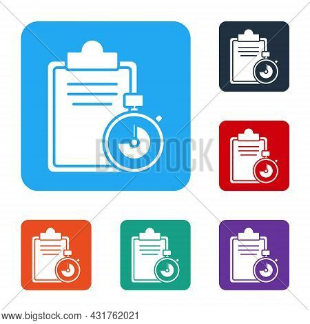 White Verification Of Delivery List Clipboard Icon Isolated On White Background. Set Icons In Color