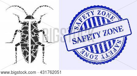 Shatter Mosaic Cockroach Icon, And Blue Round Safety Zone Scratched Badge With Text Inside Round For