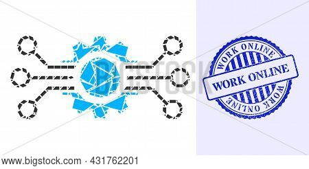 Shards Mosaic Gear Circuit Icon, And Blue Round Work Online Grunge Seal With Tag Inside Round Form.