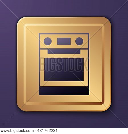 Purple Oven Icon Isolated On Purple Background. Stove Gas Oven Sign. Gold Square Button. Vector