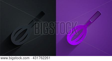 Paper Cut Kitchen Whisk Icon Isolated On Black On Purple Background. Cooking Utensil, Egg Beater. Cu