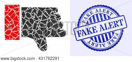 Debris Mosaic Thumb Down Icon, And Blue Round Fake Alert Dirty Stamp Seal With Tag Inside Round Shap