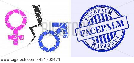 Fragment Mosaic Divorce Symbol Icon, And Blue Round Facepalm Textured Stamp Seal With Text Inside Ro