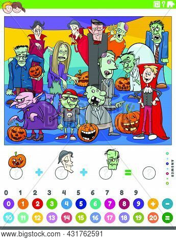 Cartoon Illustration Of Educational Mathematical Counting And Addition Game For Children With Scary