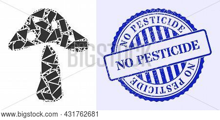 Shards Mosaic Toxic Mushroom Icon, And Blue Round No Pesticide Dirty Stamp Seal With Word Inside Rou