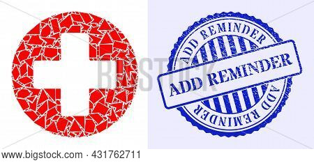 Debris Mosaic Medicine Icon, And Blue Round Add Reminder Rough Stamp With Caption Inside Circle Shap