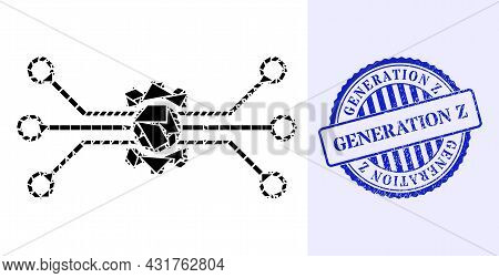 Shatter Mosaic Digital Tech Icon, And Blue Round Generation Z Corroded Stamp Imitation With Caption
