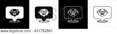 Set Grandfather Icon Isolated On Black And White Background. Vector