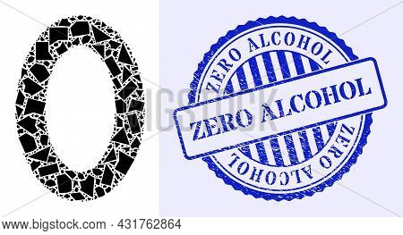 Fraction Mosaic Digit Zero Icon, And Blue Round Zero Alcohol Unclean Stamp Imitation With Word Insid