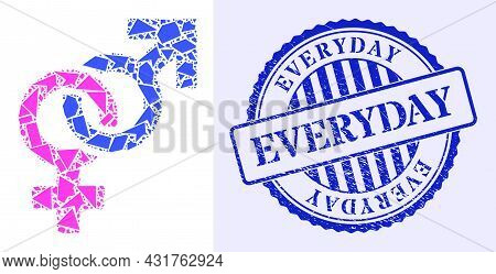 Detritus Mosaic Straight Sex Symbol Icon, And Blue Round Everyday Dirty Stamp With Tag Inside Round