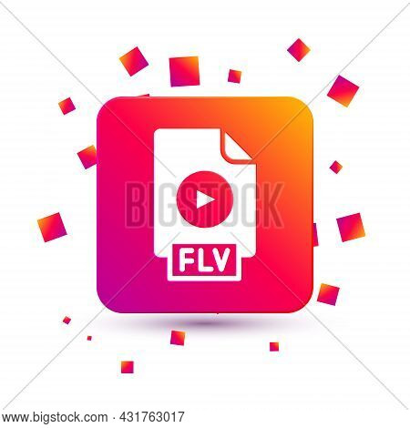 White Flv File Document Video File Format. Download Flv Button Icon Isolated On White Background. Fl
