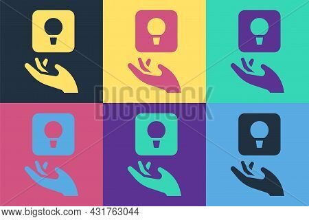 Pop Art Light Bulb With Concept Of Idea Icon Isolated On Color Background. Energy And Idea Symbol. I