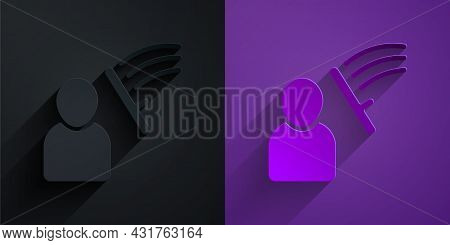 Paper Cut Police Beat Human Icon Isolated On Black On Purple Background. Abuse Of Authority. Protest